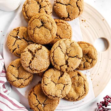 platter filled with ginger molasses cookies