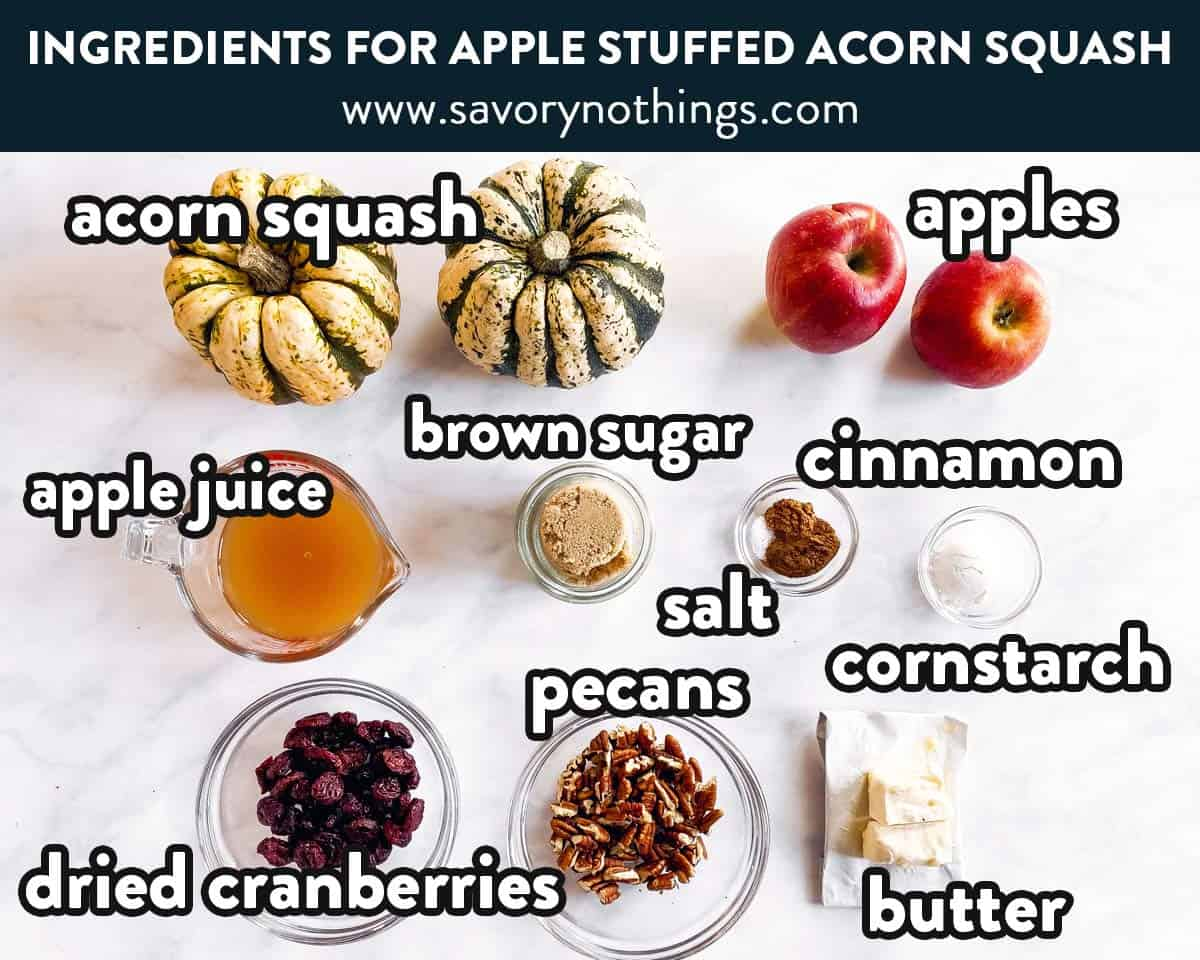 ingredients for apple stuffed acorn squash with text labels