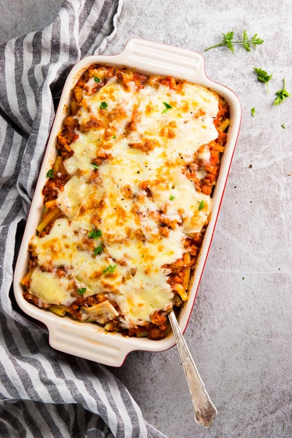 Baked ziti in the casserole dish.