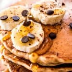 Chocolate Chip Banana Whole Wheat Pancakes are an easy and healthy breakfast idea. Try them this weekend!