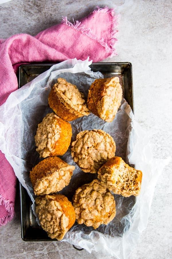 Banana Crumb Muffins on a tray.