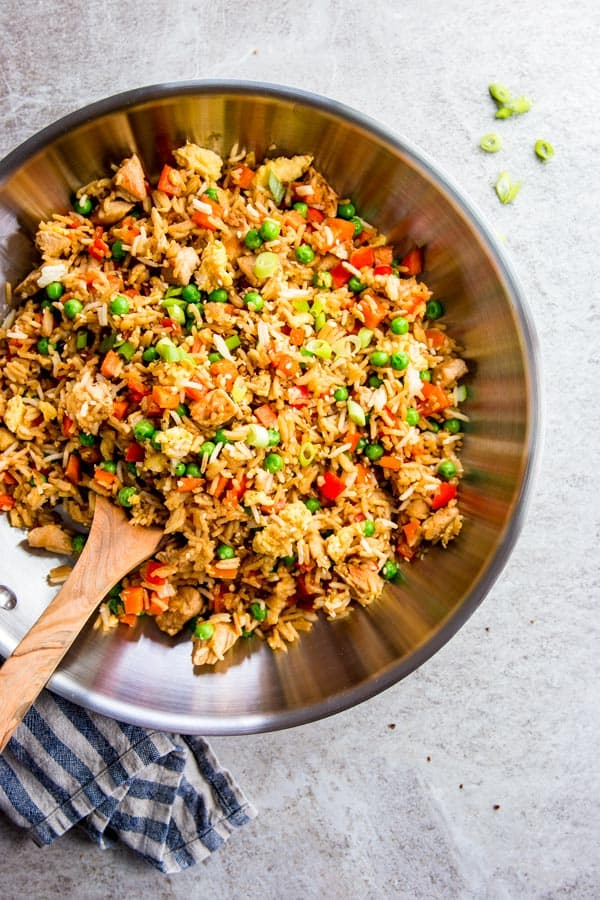 Easy Chicken Fried Rice in a skillet.