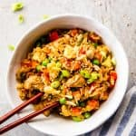 Easy Chicken Fried Rice in a bowl.