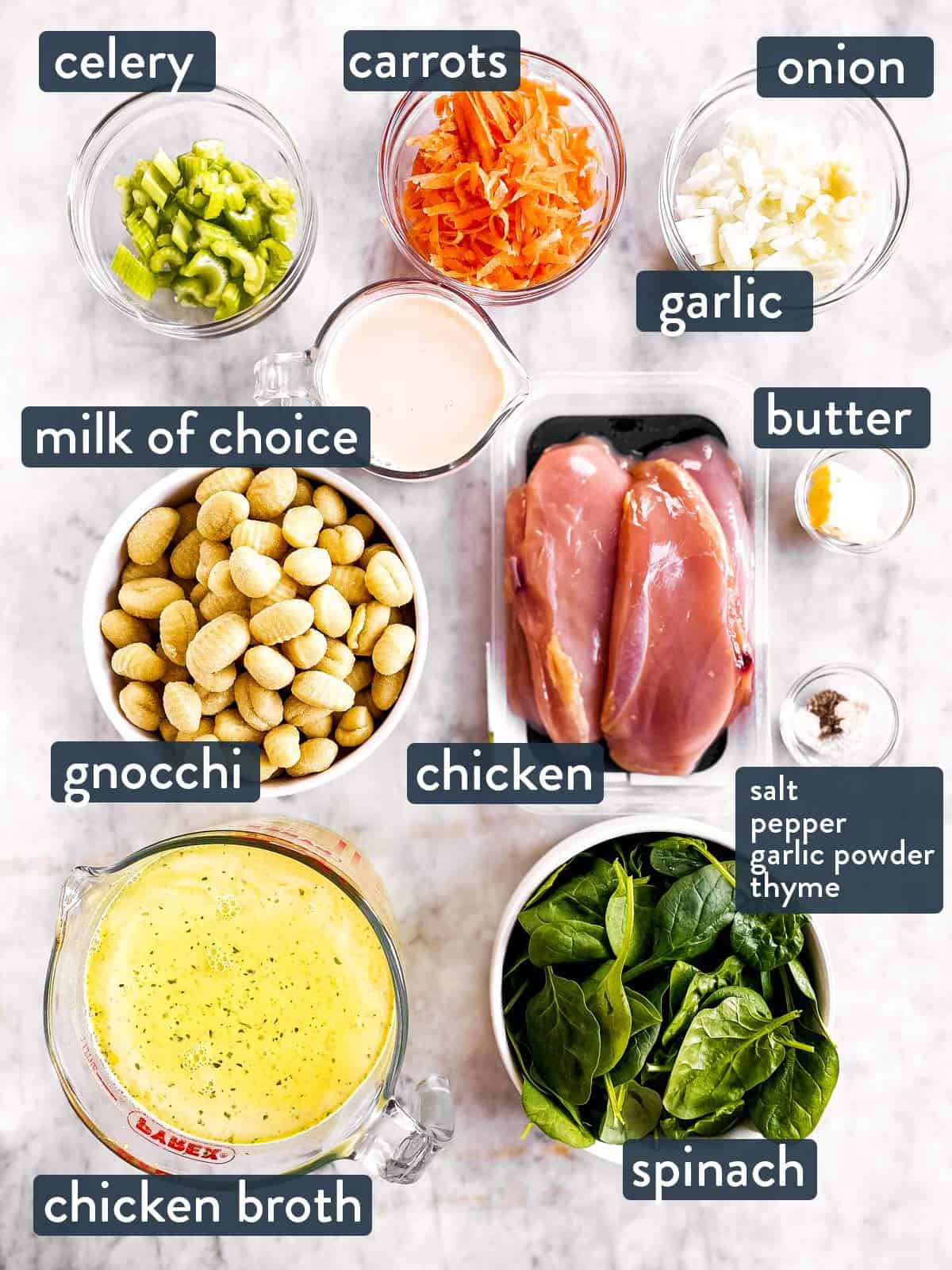 ingredients for chicken gnocchi soup with text labels