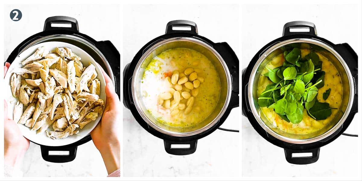 photo collage to show how to finish chicken gnocchi soup in the instant pot