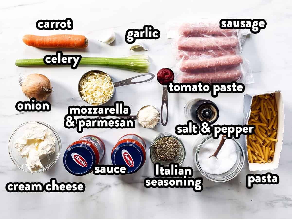 ingredients to make baked ziti on a countertop
