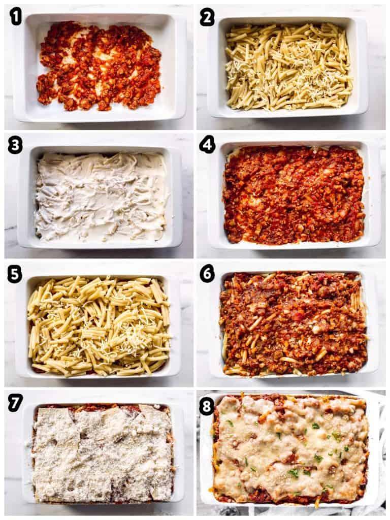 steps to layer a baked ziti casserole