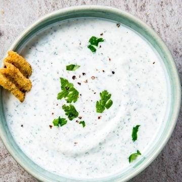 Greek yogurt ranch dip photo - landscape format