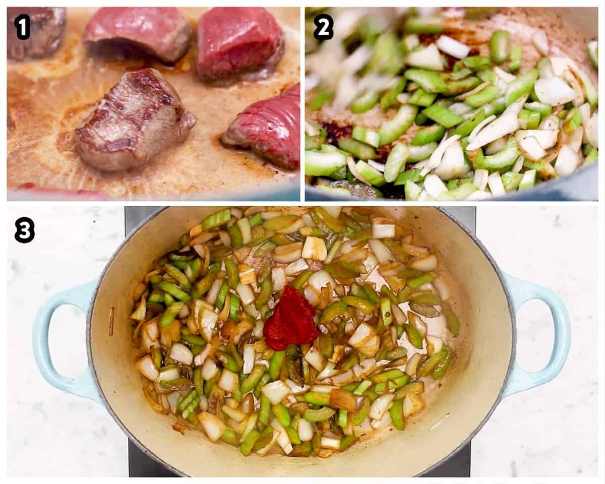 photo collage to show how to sauté ingredients to make Guinness beef stew