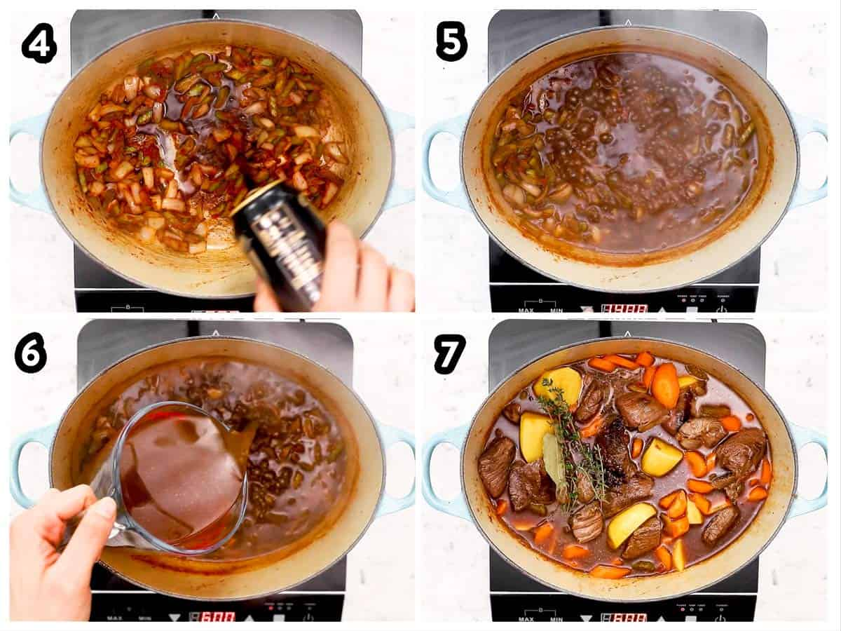 photo collage to show how to assemble and cook Guinness beef stew