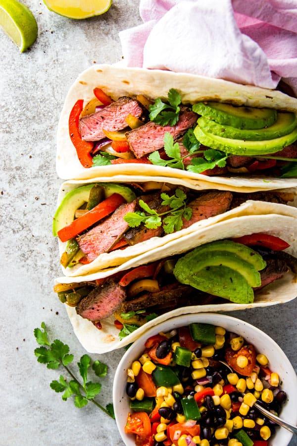 Steak Fajitas in tortilla wraps.