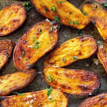 close up photo of roasted fingerling potatoes