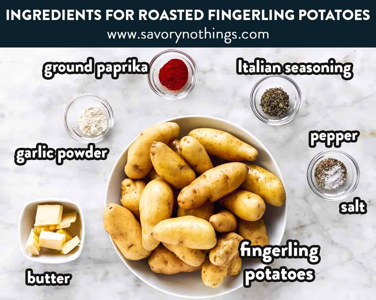 ingredients for roasted fingerling potatoes with text labels