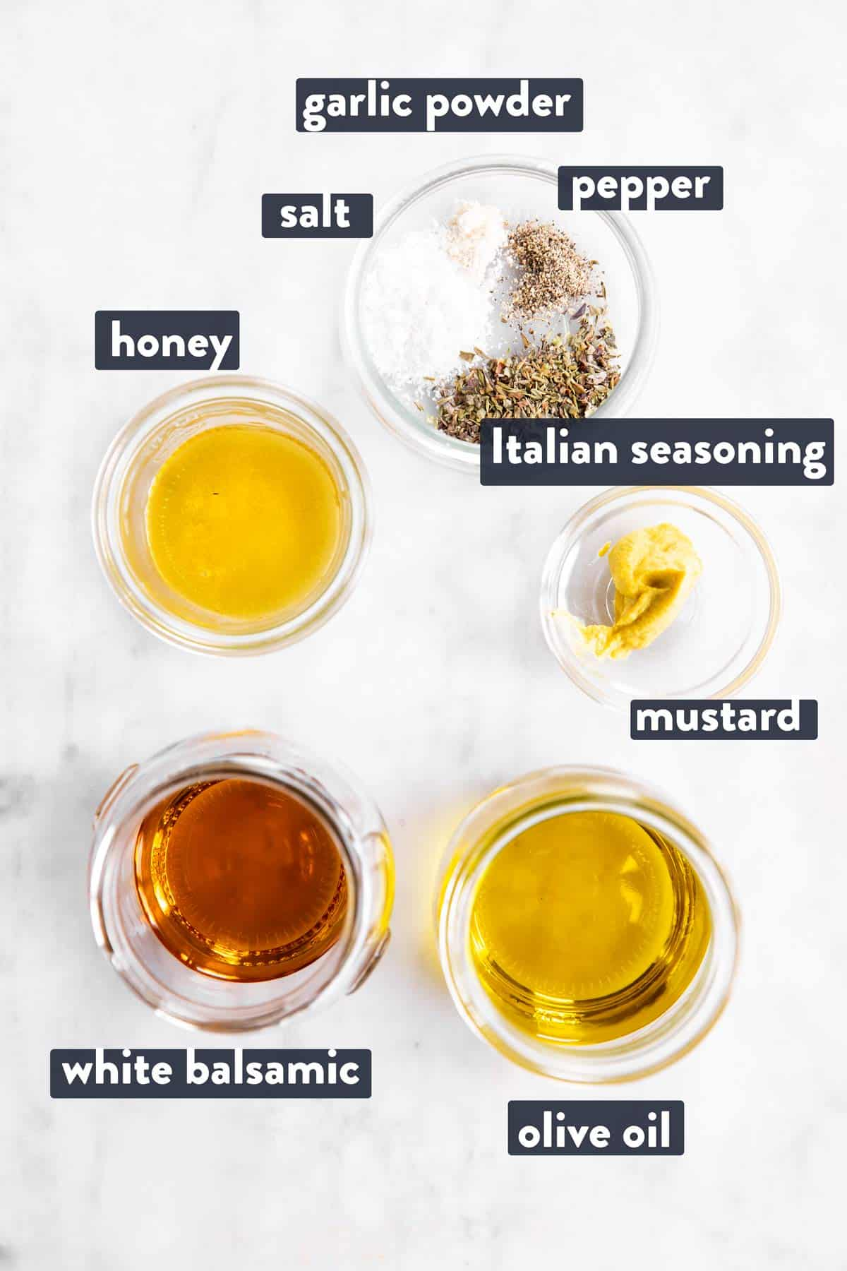 ingredients for white balsamic vinaigrette with text labels