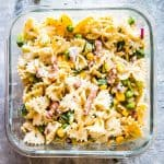 bacon ranch pasta salad in a glass container