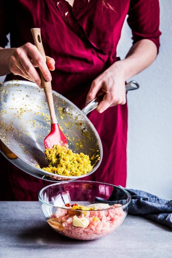 Adding vegetables to meatloaf mix
