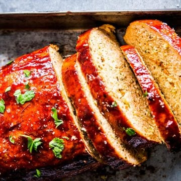 BBQ Turkey Meatloaf on a sheet pan