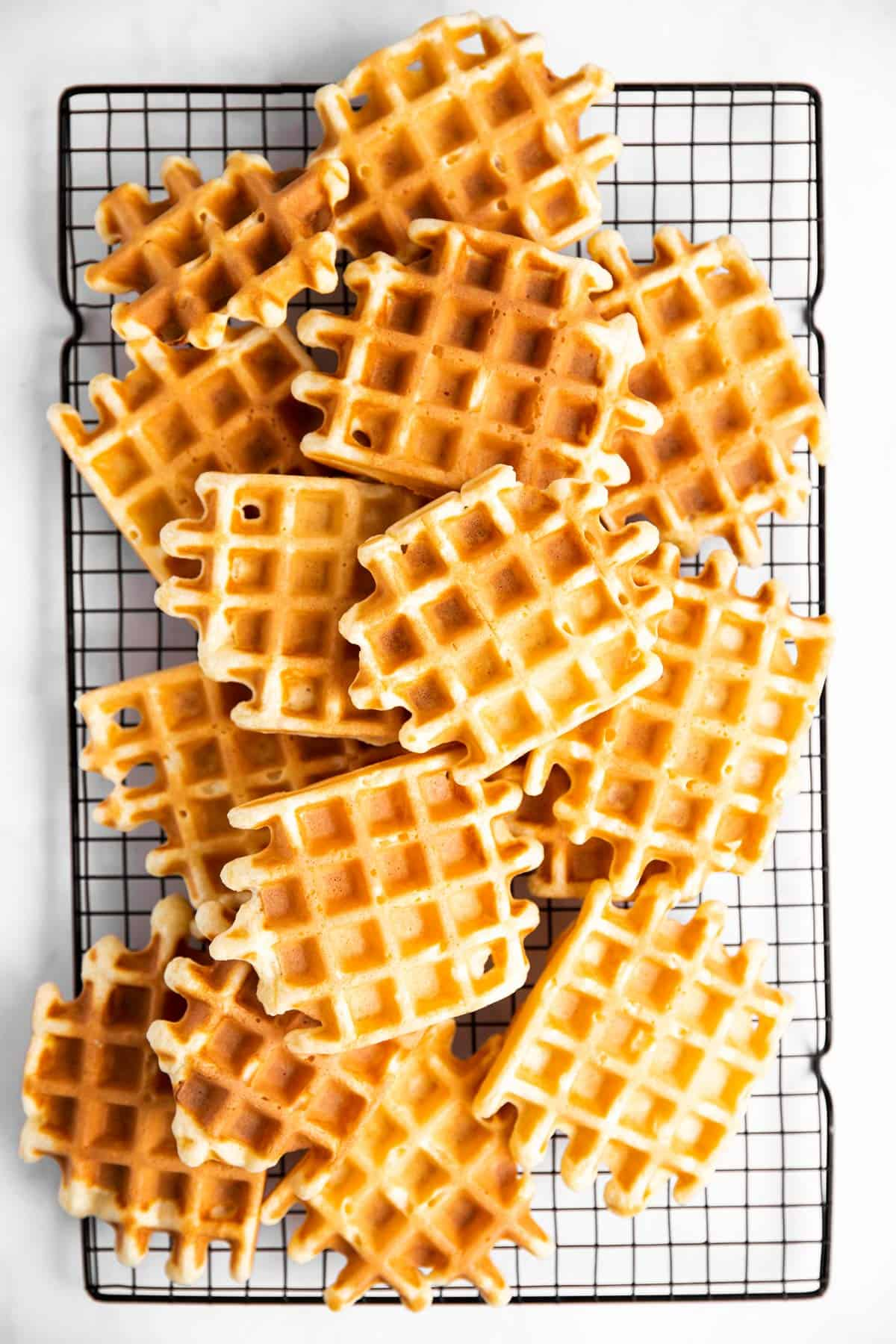 stacks of waffles on cooling rack