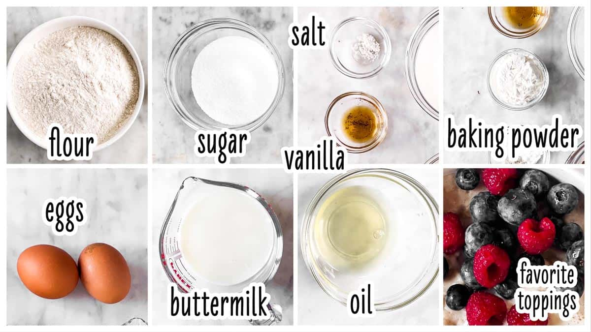 ingredients for buttermilk waffles with text labels
