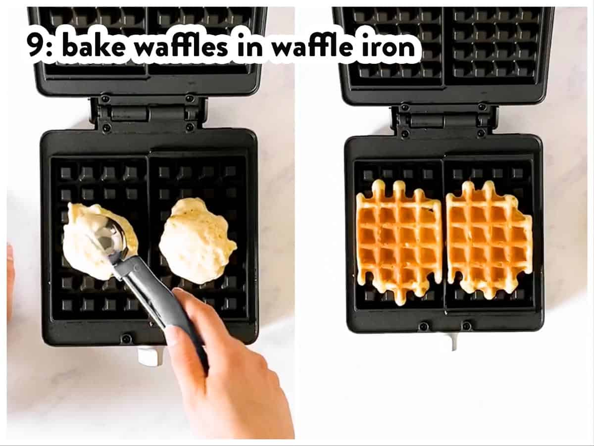 photo collage to show how to bake waffles in a waffle iron
