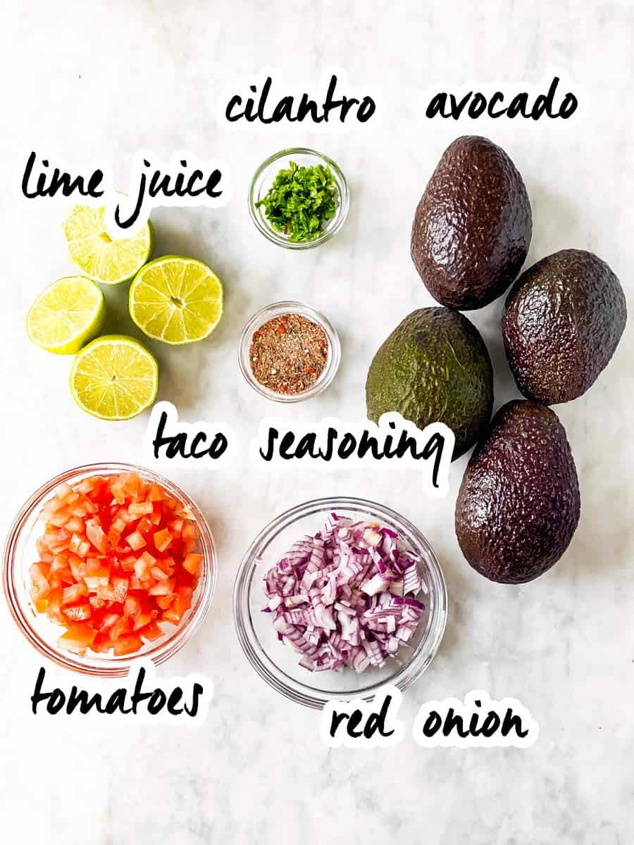 ingredients for homemade guacamole with text labels