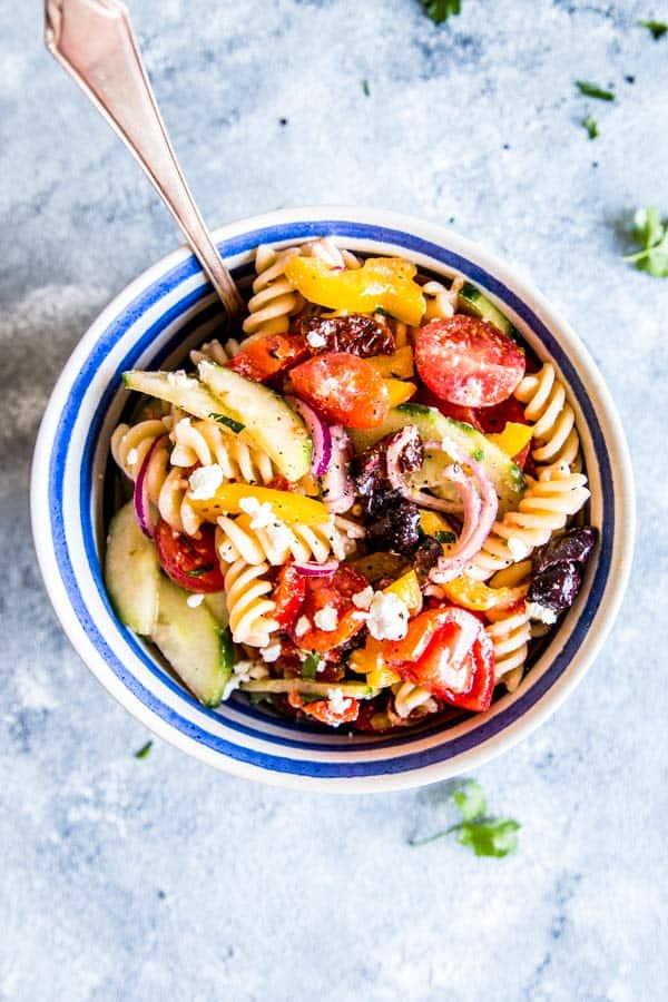 greek pasta salad in a small bowl