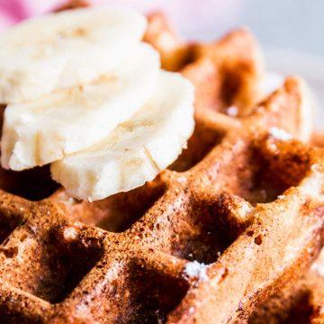 Close up shot of healthy banana waffles.