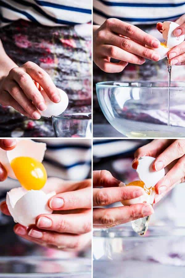 Separating eggs for homemade waffles.