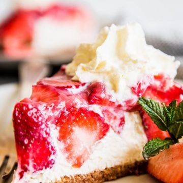 No Bake Strawberry Pie on a plate.