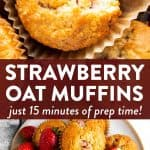Collage of two strawberry oatmeal muffin images with text overlay
