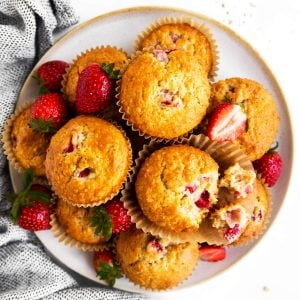 top down view on a plate filled with strawberry muffins