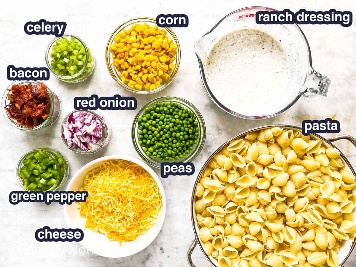 ingredients for bacon ranch pasta salad with text labels