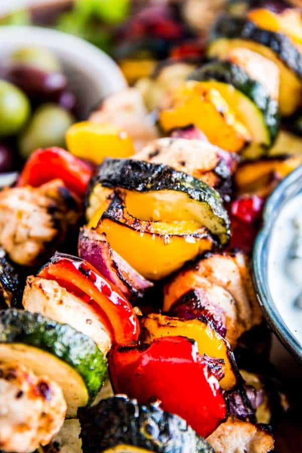 close up photo of greek chicken kabobs