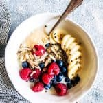 Berry quinoa breakfast bowl on the counter.