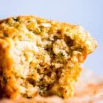 bite taken out of a zucchini oatmeal muffin