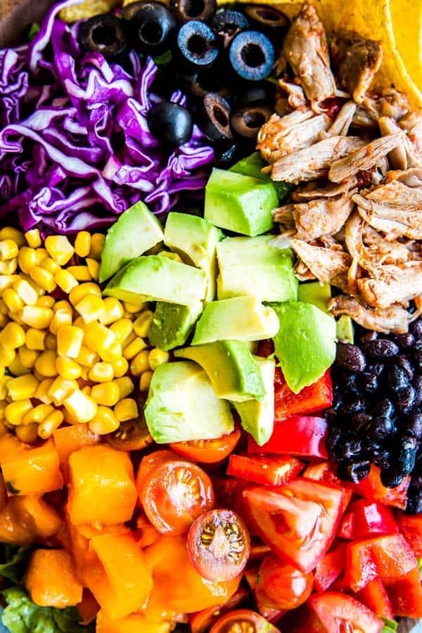 close up photo of chicken taco salad
