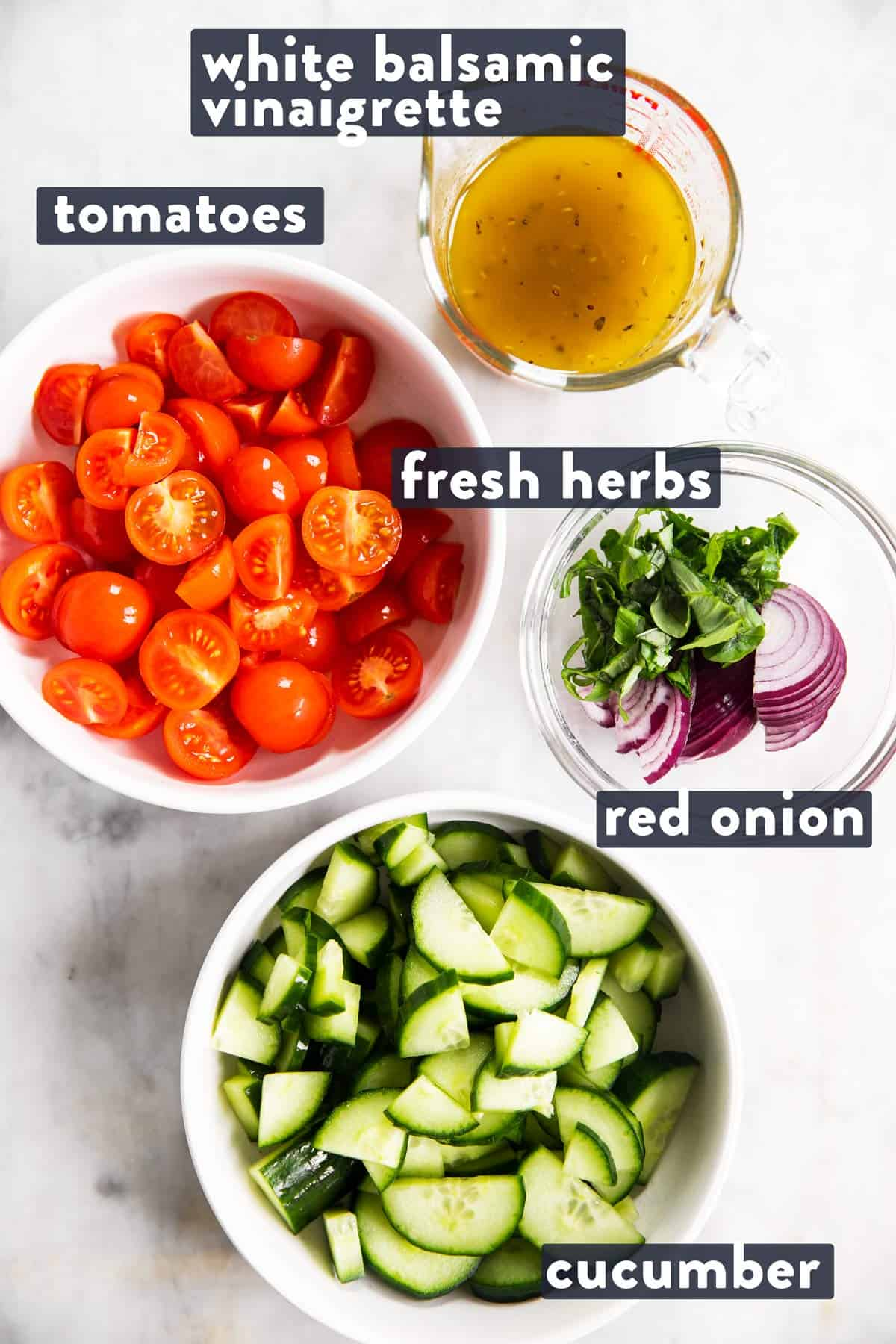 ingredients for cucumber tomato salad with text labels