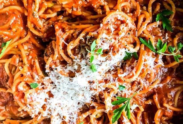 close up photo of one pot spaghetti and meat sauce