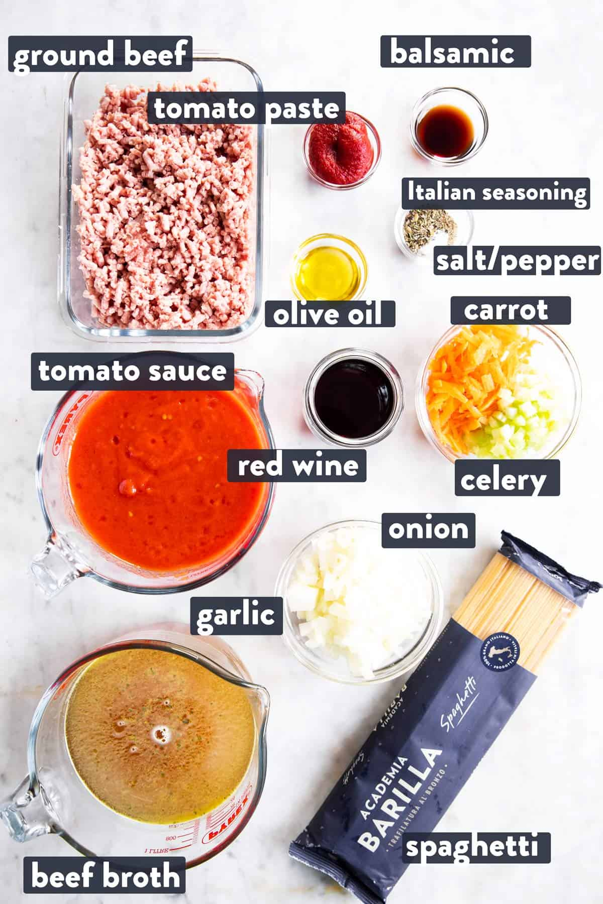 ingredients for one pot spaghetti and meat sauce with text labels