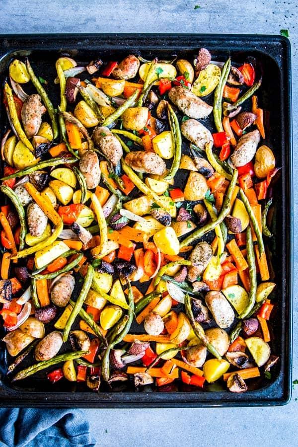 sausage potato and vegetables sheet pan dinner