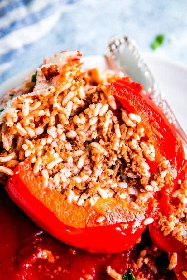 sliced slow cooker stuffed pepper