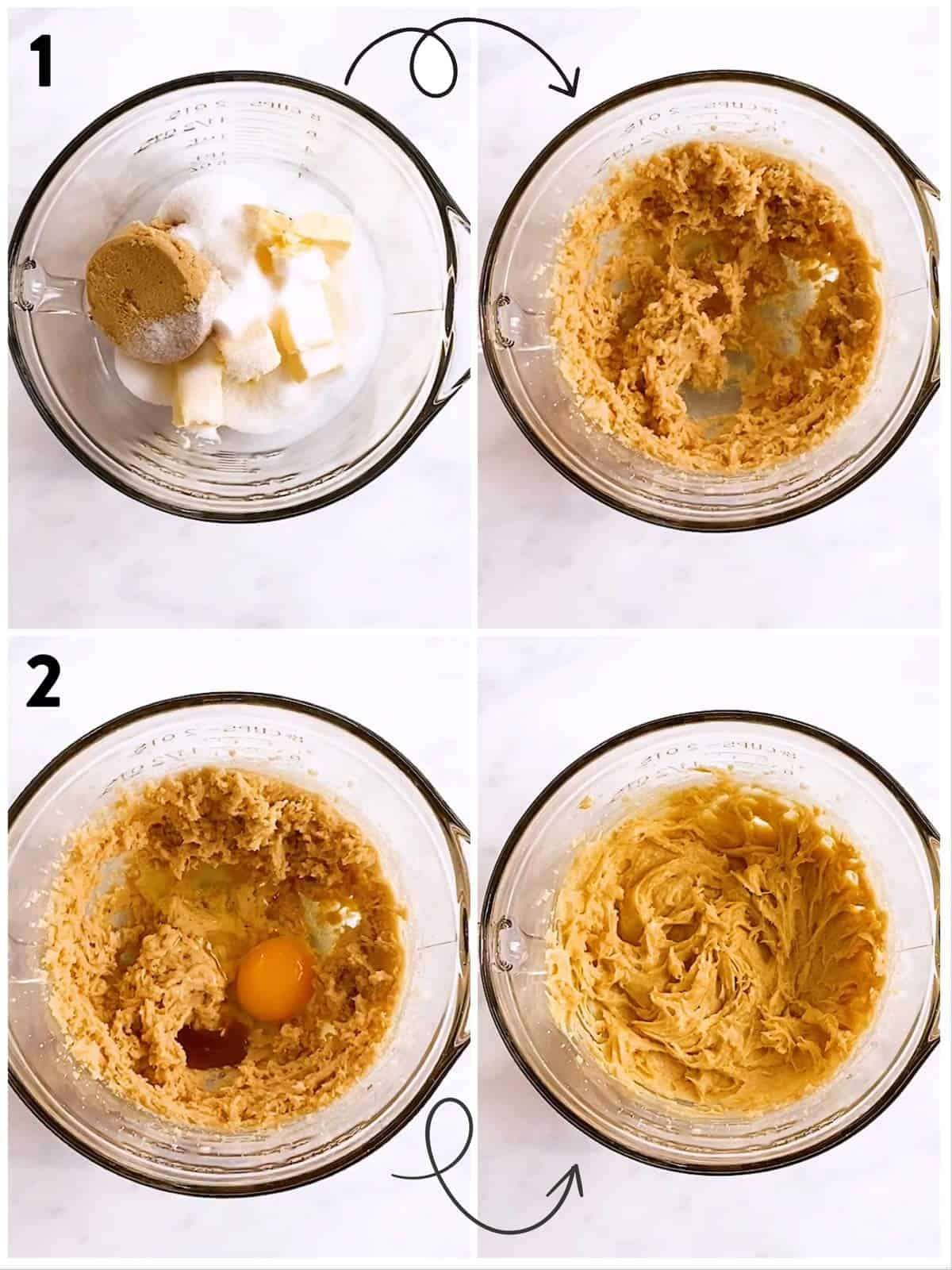 collage of steps to show creaming of ingredients for oatmeal cookie dough