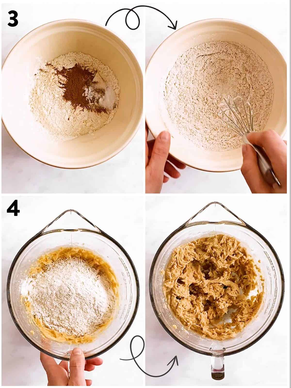 collage of steps to show adding dry ingredients to cookie dough