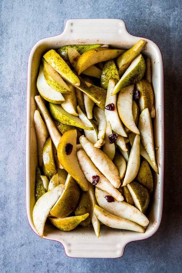 pear crisp filling in a baking dish