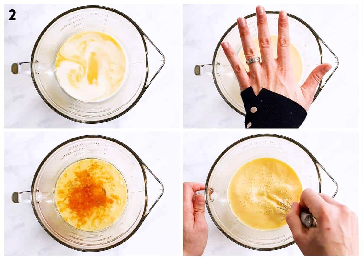 collage of photos to show mixing of wet ingredients for quick bread batter