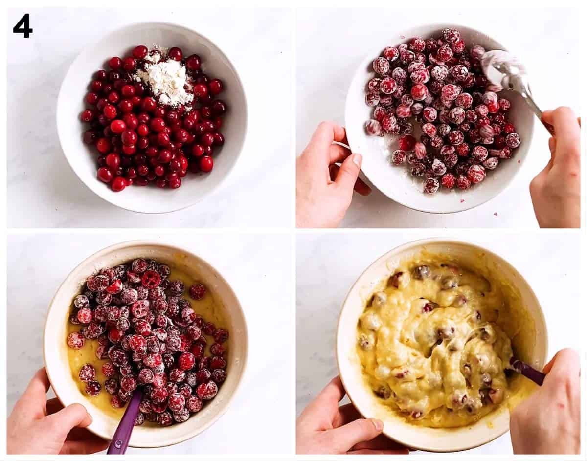 collage of photos to show how to add cranberries to quick bread batter