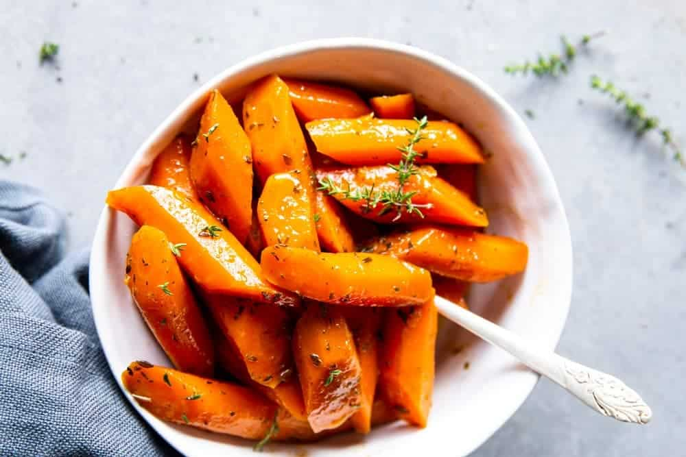 Honey Butter Thyme Crockpot Glazed Carrots Image TK