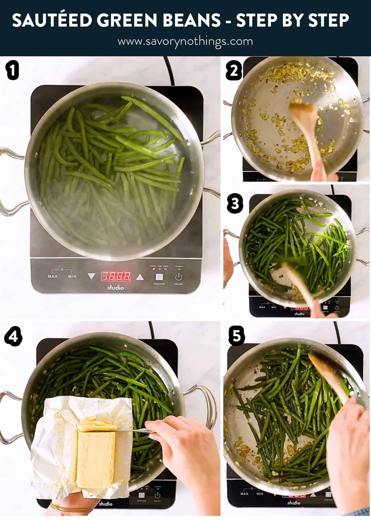 collage of photos to show making of sautéed green beans