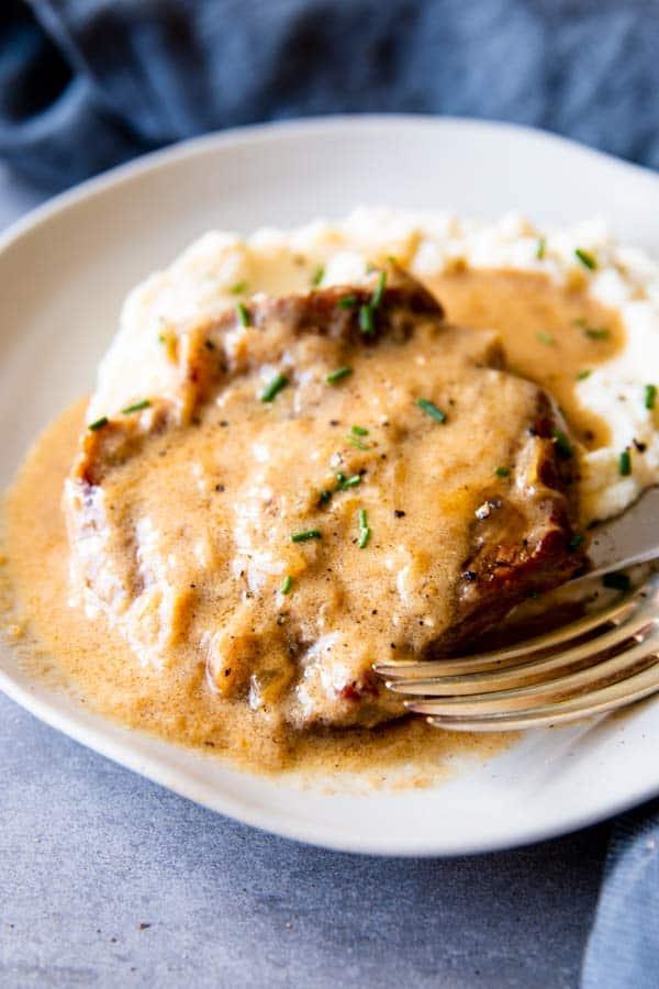 close up photo of instant pot sour cream pork chops