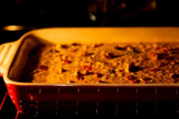 dish with pumpkin baked oatmeal in the oven